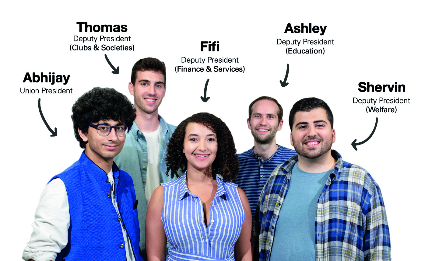 Imperial College Union Officer Trustees: Abhijay (Union President), Thomas (Deputy President Clubs & Societies), Fifi (Deputy President Finance & Services), Ashley (Deputy President Education), and Shervin (Deputy President Welfare)