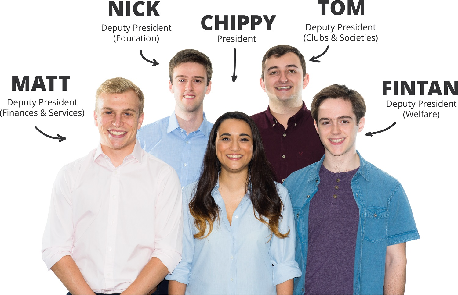 Imperial College Union Officer Trustees: Nick (Deputy Presdent Educaction), Tom (Deputy President Clubs & Societie), Matt (Deputy President Finance & Services), Chippy (President), and Fintan (Deputy President Welfare)