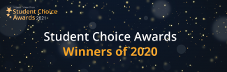 Dark background with sparkles, Student Academic Awards 2021 logo, title: Student Choice Awards Winners of 2020